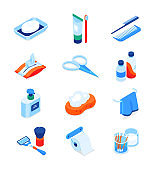 Personal hygiene - modern colorful isometric icons set
