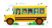 Children on the school bus - colorful flat design style illustration