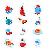 Russian symbols - modern colorful isometric icons set