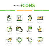Time concept - modern line design style icons set