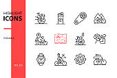 Cycling - modern line design style icons set
