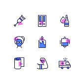 Healthcare and medicine - line design style icons set