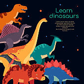 Learn dinosaurs - colorful flat design style banner