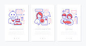 Babysitting services - modern line design style web banners