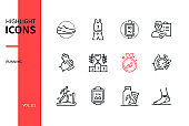 Running - modern line design style icons set