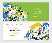 Firefighting - modern vector colorful isometric web banners