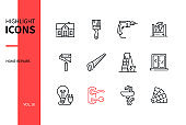 Home repair - line design style icons set