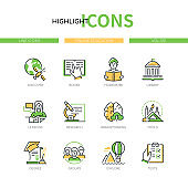 Online education - line design style icons set