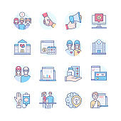 Helping the sick - colorful line design style icon set