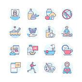 Self-care - modern line design style icons set