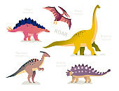 Different dinosaurs - set of flat design style characters