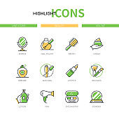Beauty - modern line design style icons set