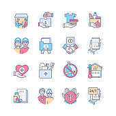 Homeless Assistance - modern colorful line design style icon set