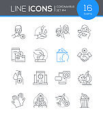 Coronavirus protective measures - line design style icons