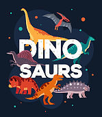 Different dinosaurs - colorful flat design style poster