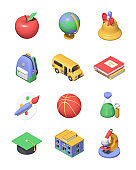 Back to school - colorful 3d icons set
