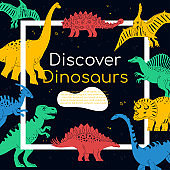Discover Dinosaurs - colorful flat design style poster