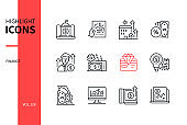Finance concept - line design style icons set
