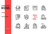 Diet and fitness - line design style icons set