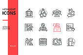 Voting and election - modern line design style icons set