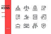 Justice concept - line design style icons set