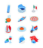 Italian symbols - modern colorful isometric icons set