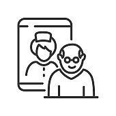 Medical consultation - line design single isolated icon