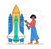 Project development - colorful flat design style illustration