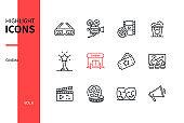 Cinema - modern line design style icons set