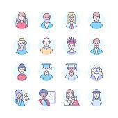 Diversity - modern line design style icons set