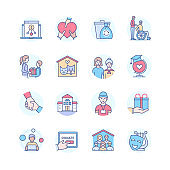 Charity - modern line design style icons set