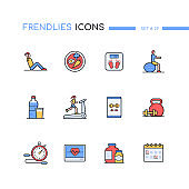 Fitness - colorful line design style icons set