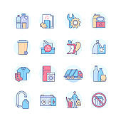 Waste sorting - modern line design style icons set