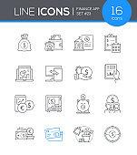 Finance app - line design style icons set