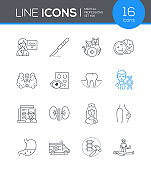 Medical professions - line design style icons set