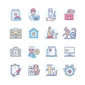 Help for animals - colorful line design style icon set