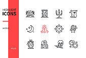 Mystic concept - line design style icons set