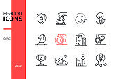 Office concept - line design style icons set