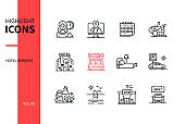 Hotel services - line design style icons set