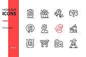 Psychology concept - line design style icons set