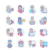 Profession - modern colorful line design style icons