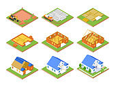 Construction plan - set of vector colorful isometric elements