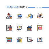 Real estate - modern line design style icons set
