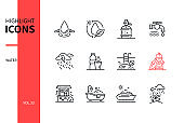 Water conditions - line design style icons set