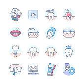 Dental treatment colorful line design style icon set