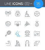 Sport and Healthy lifestyle - line design style icons set
