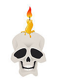 Skull with a candle - modern cartoon style object
