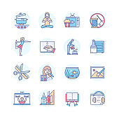 Hobbies to do at home - modern line design style icons set