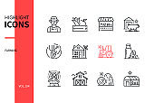 Farming - modern line design style icons set
