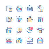 Logistics and delivery services - line design style icons set